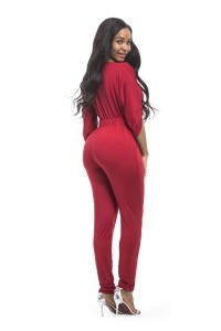 61568589c7eb Fashion Spring Fall Red Jersey Casual Women Jumpsuit With Sleeves lightbox  moreview · lightbox moreview