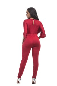 e57fadb8f3a9 Fashion Spring Fall Red Jersey Casual Women Jumpsuit With Sleeves lightbox  moreview · lightbox moreview · lightbox moreview