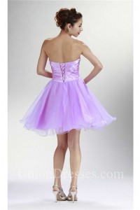 Fashion Strapless Short Lilac Tulle Beaded Cocktail Tutu Prom Dress
