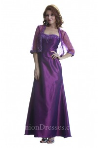 Fitted A Line Purple Taffeta Beaded Mother Evening Dress With Bolero Jacket