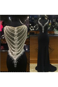Fitted Sweetheart Sheer Back Black Chiffon Pearl Beaded Prom Dress