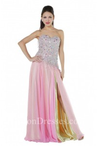bce12a0f6c23 Flowy Strapless Side Slit Long Pink And Yellow Chiffon Beaded Prom Dress