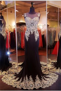 Formal Mermaid Illusion Neckline Black Silk Gold Lace Applique Evening Dress