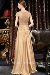 b07fd3d0d61a Formal Sequare Neck Cap Sleeve Long Gold Satin Lace Mother Of The Bride  Evening Dress lightbox moreview · lightbox moreview