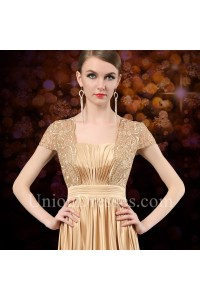 ed8354fe2f23 Formal Sequare Neck Cap Sleeve Long Gold Satin Lace Mother Of The Bride  Evening Dress