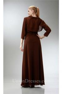 Formal Sheath Ruffled Neckline Brown Chiffon Mother Evening Dress Bolero Jacket