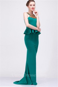 bd3f6dab779 Formal Sheath Sheer Back Long Jade Green Satin Beaded Peplum Evening Dress  lightbox moreview · lightbox moreview