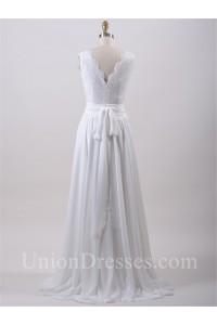 Glamour Scalloped Neck Lace Chiffon Beach Wedding Dress With Sash Back