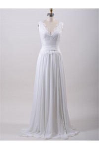 Glamour Scalloped Neck Lace Chiffon Beach Wedding Dress With Sash