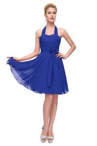 1f0c13ffd989 Graceful Halter Corset Short Royal Blue Chiffon Party Bridesmaid Dress With  Sash