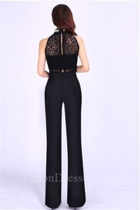 a12b7091679c High Neck Black Jersey Lace Beaded Formal Occasion Evening Jumpsuit  lightbox moreview · lightbox moreview · lightbox moreview