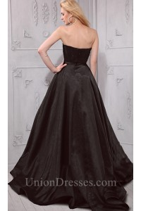 823f13ac060 Lovely Ball Gown Strapless Sweetheart Black Satin Beaded Prom Dress  lightbox moreview · lightbox moreview