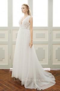 48a32994b6 Lovely Deep V Neck Low Back Tulle Petal Boho Garden Wedding Dress lightbox  moreview · lightbox moreview