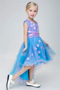 Lovely High Low Sky Blue Tulle Lace Girl Prom Pageant Dress With Sash