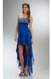 fa50980769d Lovely High Low Strapless Empire Waist Royal Blue Chiffon Party Prom Dress