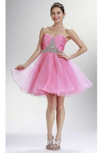 Lovely Strapless Mini Pink Tulle Beaded Cocktail Prom Dress