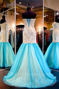 a4685e1fa78 Mermaid Sweetheart Aqua Tulle Gold Lace Flare Prom Dress Corset Back  lightbox moreview · lightbox moreview