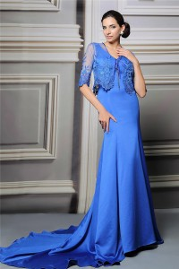 Mermaid V Neck Royal Blue Satin Mother Of The Bride Evening Dress With Lace Sleeve Jacket