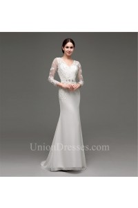 Mermaid V Neck See Through Back Organza Lace Sleeve Wedding Dress With Beading Sash