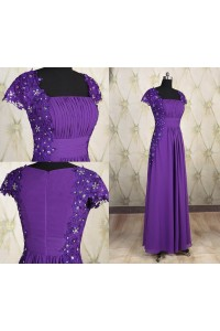 Modest Sheath Square Neck Cap Sleeve Long Purple Chiffon Lace Beaded Evening Dress