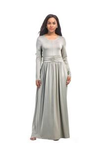 Modest V Neck Long Sleeve Silver Jersey Spring Fall Dress
