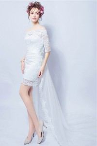 Off The Shoulder Half Sleeve High Low Lace Beach Outdoor Wedding Dress