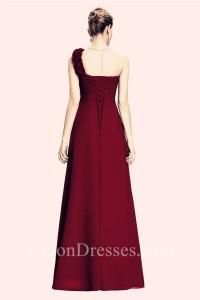 One Shoulder Empire Waist Long Burgundy Chiffon Bridesmaid Dress Corset Back