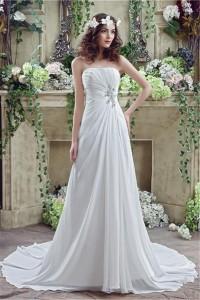 Princess A Line Strapless Draped Chiffon Destination Beach Summer Wedding Dress