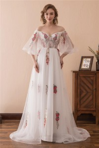 Princess Off The Shoulder Flare Sleeve Tulle Floral Embroidery Prom Dress