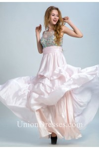 f5578eade978 Round Neck Sheer Back Sleeveless Light Pink Chiffon Beaded Prom Dress  lightbox moreview · lightbox moreview