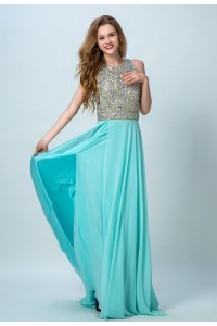 Sexy A Line High Neck Backless Long Aqua Chiffon Beaded Prom Dress With Slit