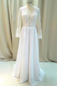 Sexy Illusion Neckline Sheer Back Long Sleeve Chiffon Lace Destination Wedding Dress