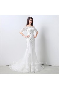 Sexy Mermaid Off The Shoulder Short Sleeve Lace Beaded Wedding Dress Corset Back