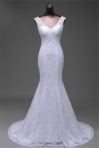 Sexy Mermaid V Neck Low Back Lace Wedding Dress Corset Back bd9014842