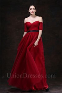 1beb8c2eea9 Sexy Sweetheart Off The Shoulder Short Sleeve Red Tulle Evening Prom Dress  With Black Sash lightbox moreview · lightbox moreview