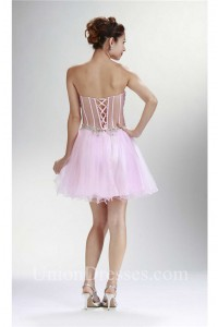 sexy sweetheart see through corset mini light pink tulle