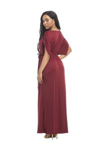 e3cea6e0a5b1 Sexy V Neck Long Burgundy Jersey Ruched Sleeve Summer Fall Dress With Sash  lightbox moreview · lightbox moreview