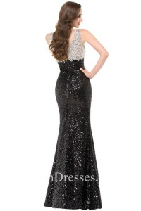 5c99a9a7ebc87 Sexy V Neck Side Slit Black And Silver Sequin Beaded Prom Dress