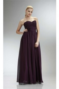 Sheath Empire Waist Long Plum Chiffon Bridesmaid Dress With Flowers
