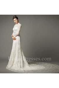 e255ea5f Sheath High Neck With Collar Long Sleeve Lace Wedding Dress Chapel Train  lightbox moreview · lightbox moreview