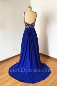ef2fb43940a Sheath Open Back Long Royal Blue Chiffon Gold Beaded Prom Dress With Straps  lightbox moreview · lightbox moreview