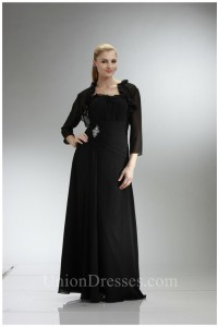 Sheath Ruffled Neckline Black Chiffon Mother Evening Dress With Bolero Jacket