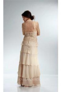 Sheath Strapless Champagne Chiffon Ruffle Tiered Mother Evening Dress Lace Jacket