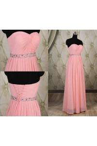 Sheath Strapless Long Pink Chiffon Ruched Evening Prom Dress With Beading Belt