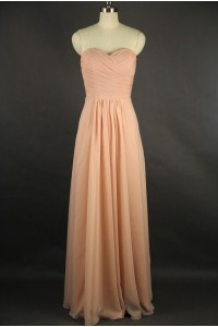 Sheath Sweetheart Long Peach Chiffon Draped Bridesmaid Evening Dress