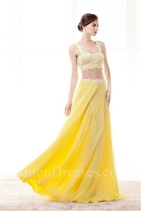 6a09961955d4 Sheath Sweetheart Two Piece Yellow Chiffon Embroidery Beaded Prom Dress  lightbox moreview · lightbox moreview