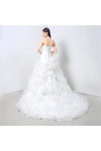 Simple Lovely Mermaid Strapless Organza Ruffle Wedding Dress Corset Back