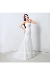 Simple Mermaid Strapless Ruched Tulle Wedding Dress Lace Up Back