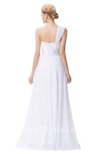 simple one shoulder sweetheart chiffon beach wedding dress