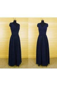 Simple Sheath V Neck Long Navy Blue Chiffon Draped Evening Bridesmaid Dress